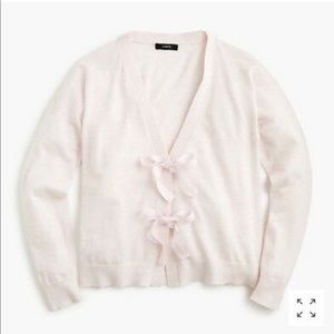 NWT J Crew Pink Bow Front Cardigan, Size L